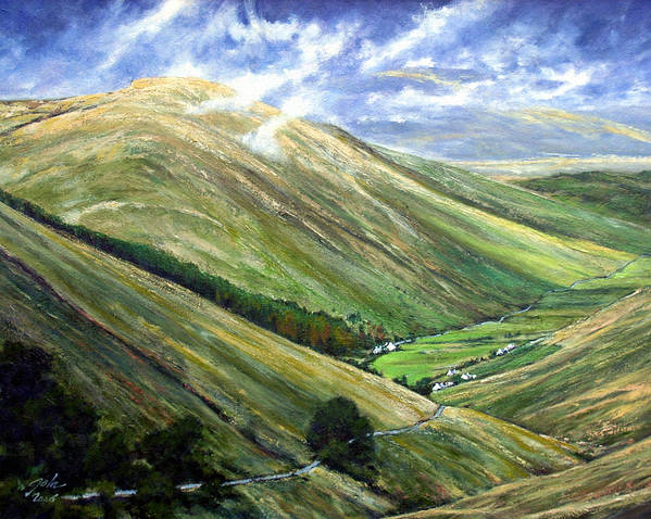 Landscapes Art Print featuring the painting Glen Gesh Ireland by Jim Gola