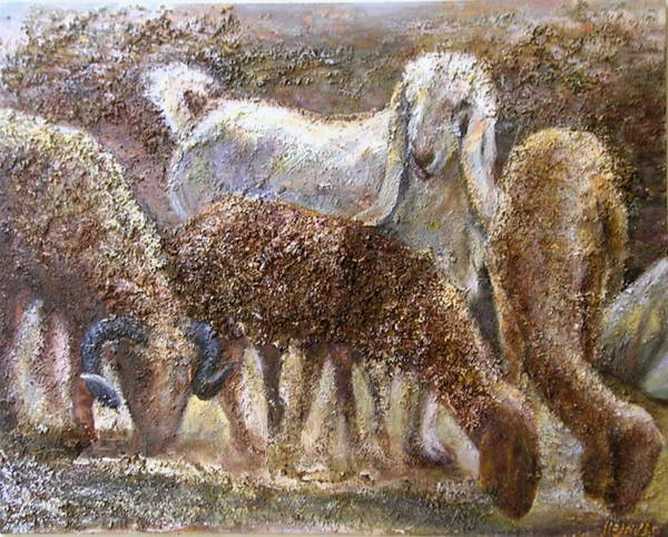Farm Art Print featuring the painting Goat With Sheep by Sylva Zalmanson