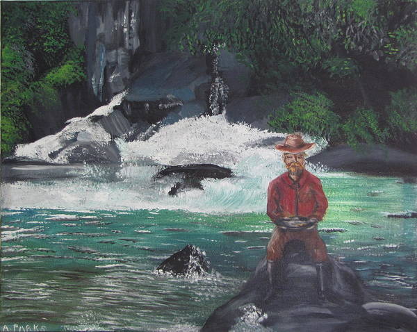 Pan Art Print featuring the painting Gold Panning by Aleta Parks