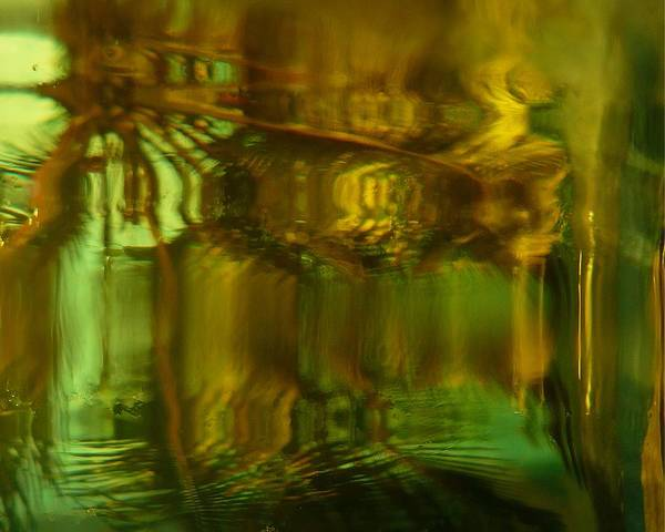 Abstract Art Print featuring the digital art Golden Dreams II by Florene Welebny