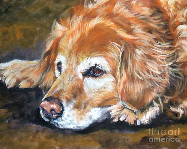 Golden Retriever Art Print featuring the painting Golden Retriever Senior by Lee Ann Shepard