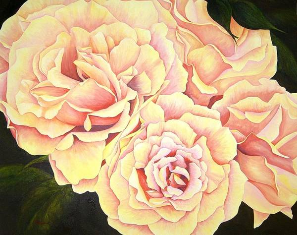 Roses Art Print featuring the painting Golden Roses by Rowena Finn