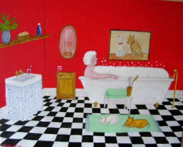 Folk Art Art Print featuring the painting Gran's Napping Again by Fran Caldwell