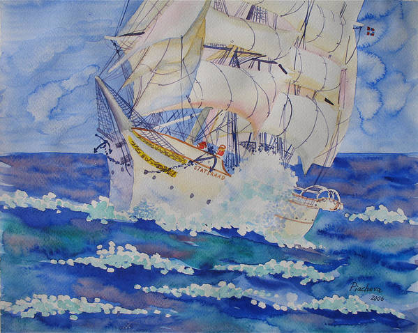 Seascape Art Print featuring the painting Great Sails.2006 by Natalia Piacheva