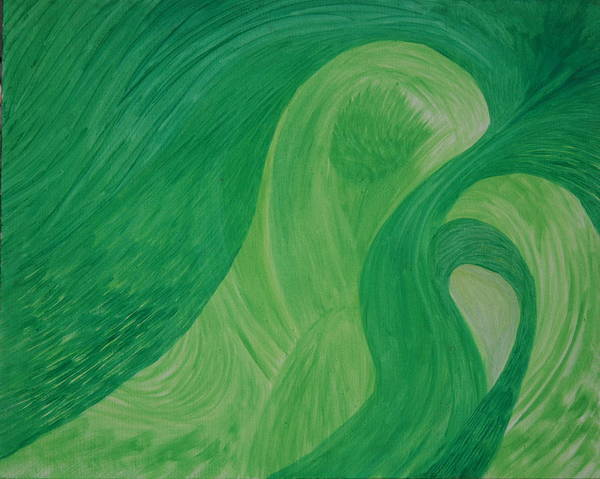 Art Print featuring the painting Green Harmony by Prakash Bal Joshi
