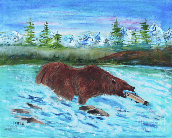 Bear Art Print featuring the painting Grizzley Catching Fish In Stream by Betty McGregor