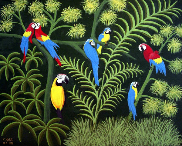 Landscape Paintings Art Print featuring the painting Group Of Macaws by Frederic Kohli