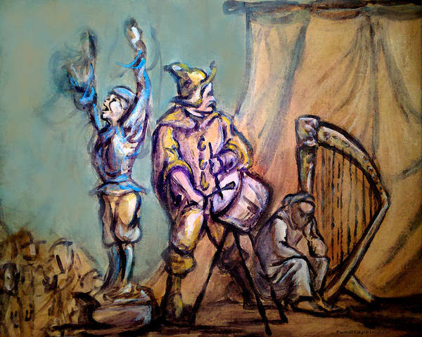 Street Performers Art Print featuring the painting Gypsies Part 1 by Kevin Middleton