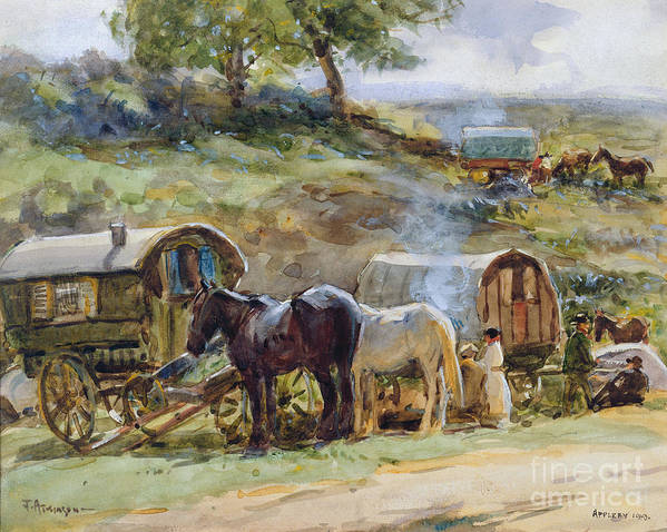 Gypsy Art Print featuring the painting Gypsy Encampment by John Atkinson