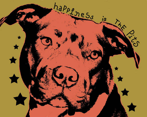 Dog Art Print featuring the painting Happiness Is The Pits Duo Tone by Dean Russo Art