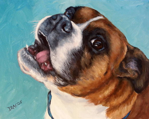 Boxer Art Print featuring the painting Happy Boxer Dog by Dottie Dracos