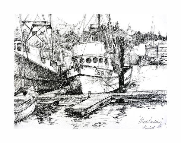 Seascape Art Print featuring the painting Harbour Boats by Sarah Madsen