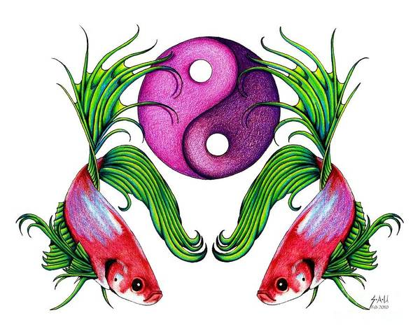 Ying Yang Art Print featuring the drawing Harmony Together by Sheryl Unwin