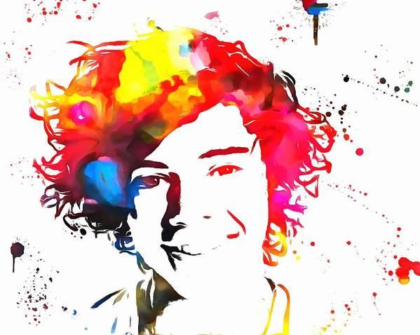 Harry Styles Paint Splatter Art Print featuring the painting Harry Styles Paint Splatter by Dan Sproul