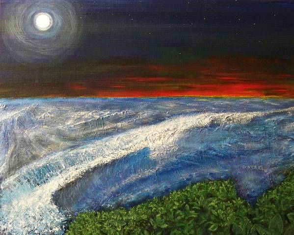 Beaches Art Print featuring the painting Hawiian View by Michael Cuozzo