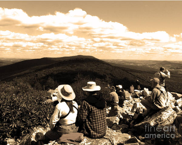 Mountain Art Print featuring the photograph Hawk Mountain In Sepia by Donna Brown