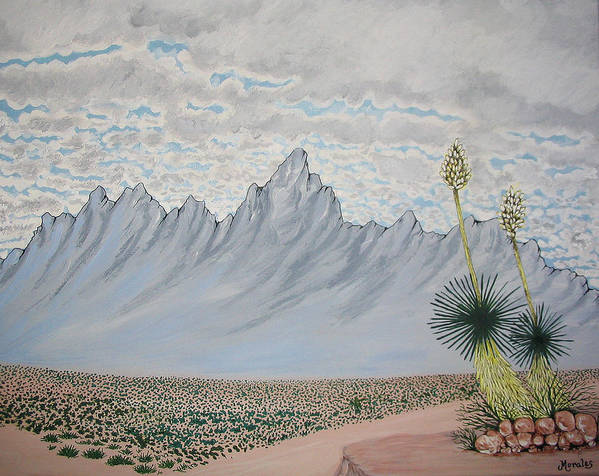 Desertscape Art Print featuring the painting Hazy Desert Day by Marco Morales