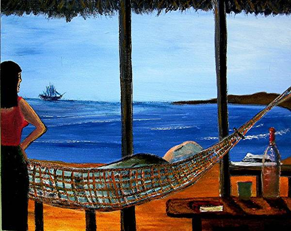 Beach Art Print featuring the painting He Said He Was Dreaming... by Richard Hubal