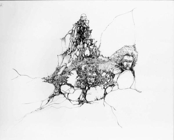 Heads Art Print featuring the drawing Heads Lost In Rocks by Padamvir Singh