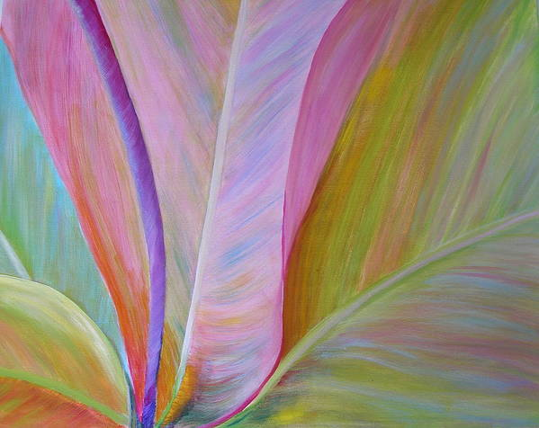 Floral Art Print featuring the painting Heart Of Ti by Elizabeth Ferris