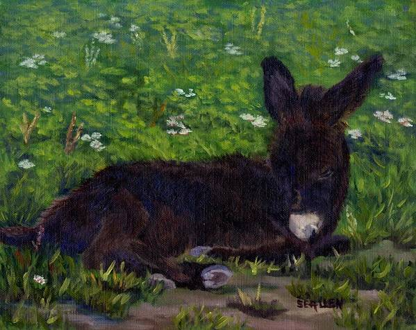 Donkey Art Print featuring the painting Hercules by Sharon E Allen