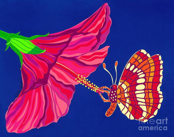 Nature Art Print featuring the drawing Hibiscus And Butterfly by Lucyna A M Green