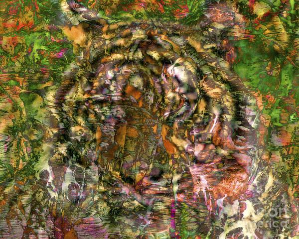 Tiger Art Print featuring the digital art Hidden Tiger by Chuck Brittenham