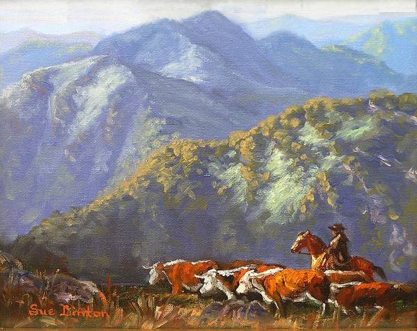 Cattle Art Print featuring the painting High Country Muster by Sue Linton