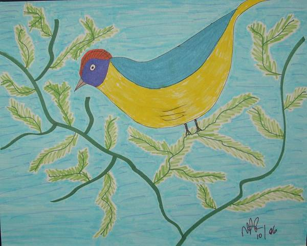 Birds Art Print featuring the drawing High Tail by Nicholas A Roes
