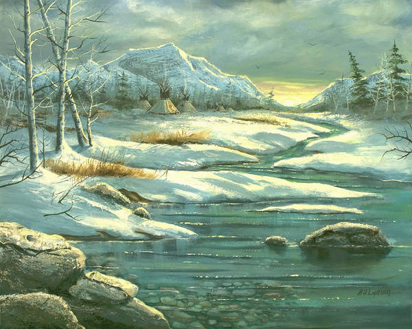 Landscape Art Print featuring the painting High Winter Camp by Brooke Lyman
