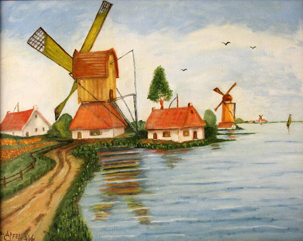Windmills Art Print featuring the painting Holland by Gloria M Apfel