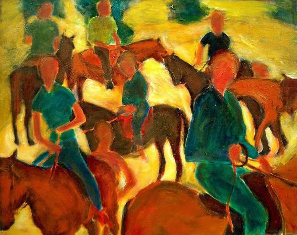Dornberg Art Print featuring the painting Horseback Riders by Bob Dornberg