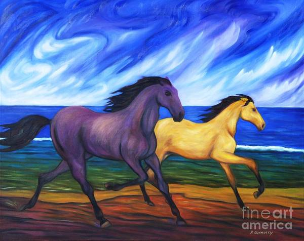 Diconnollyart Art Print featuring the painting Horses Running On The Beach by Dianne Connolly