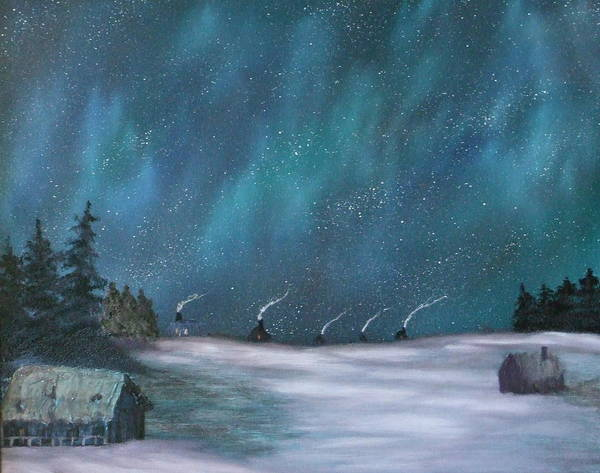 Icefishing Art Print featuring the painting Ice Fishing Huts by Rebecca Fitchett