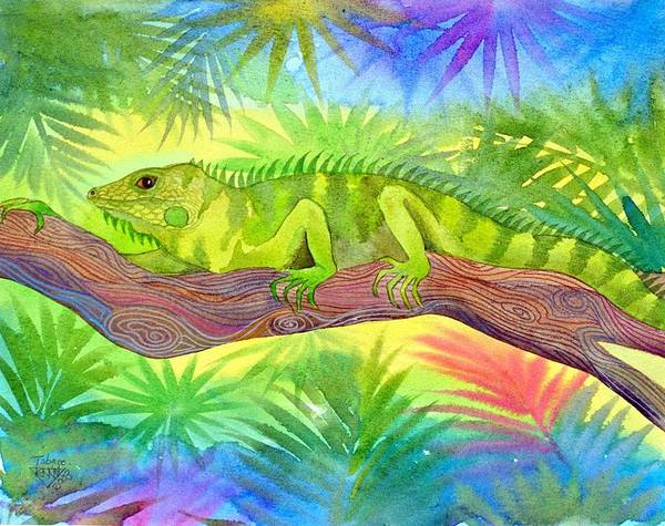 Iguana Rain Forest Jungle Tropical Wild Life Nature Art Print featuring the painting Iguana by Jennifer Baird