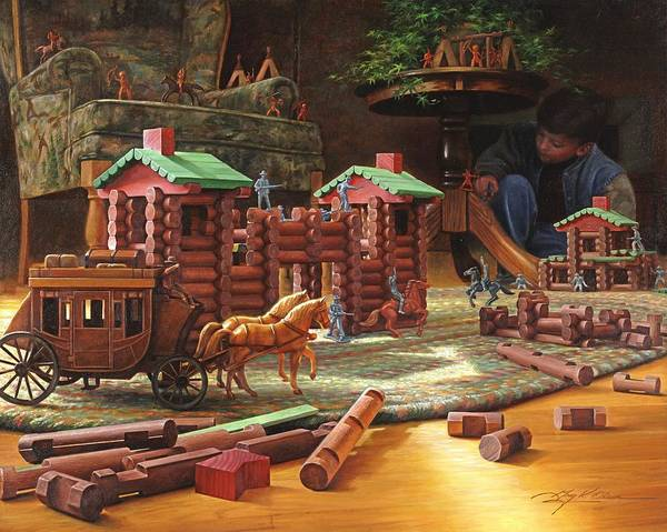 Lincoln Logs Art Print featuring the painting Imagination Final Frontier by Greg Olsen