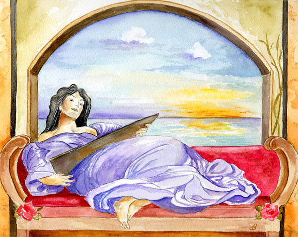 Landscape Woman Romantic Figure Window Sea Sky Art Print featuring the painting In Paradisum by Brenda Owen
