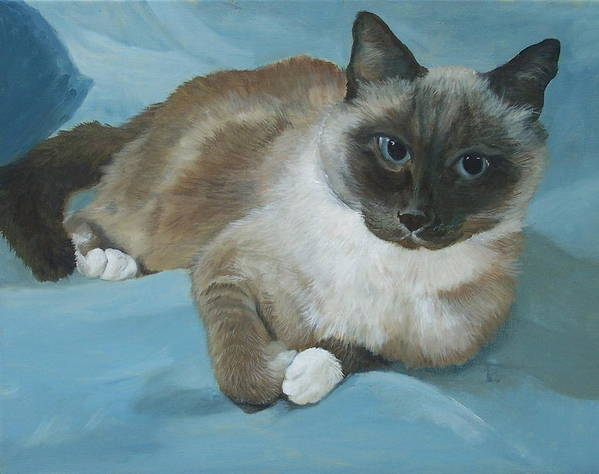 Cat Art Print featuring the painting Itty Bitty Kitty by Audrie Sumner