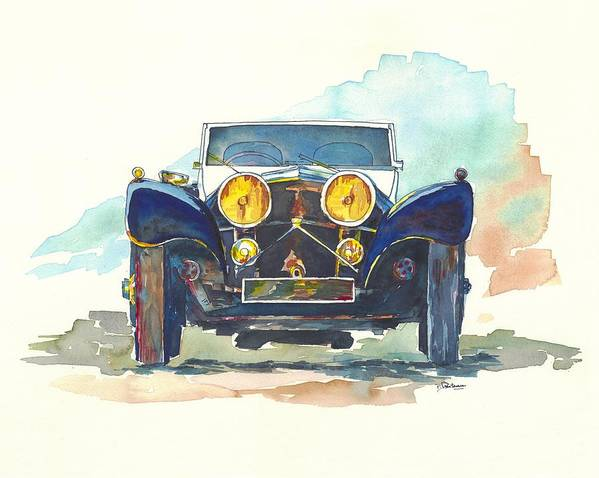 Jaguar Art Print featuring the painting Jaguar Ss 100 by Francoise Villibord Pointeau