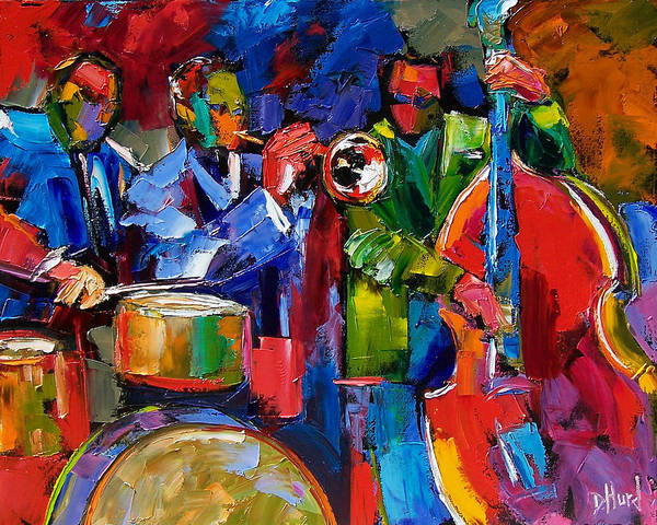 Jazz Art Print featuring the painting Jazz Beat by Debra Hurd