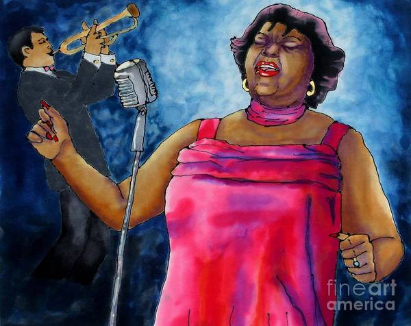 Jazz Art Print featuring the painting Jazzy Lady by Linda Marcille
