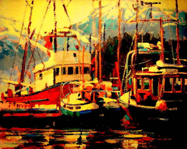 Paintings Art Print featuring the painting Juneau Boats by Brian Simons