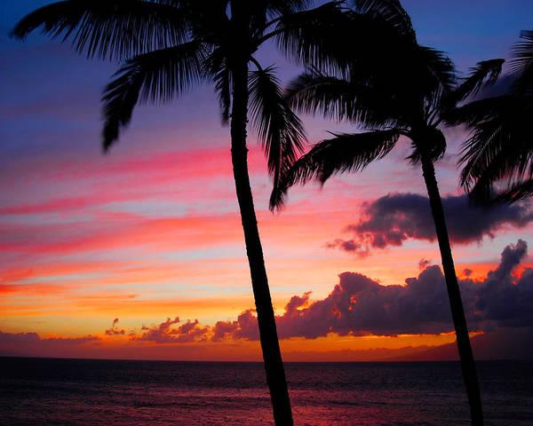Kaanapali Sunset Art Print featuring the photograph Kaanapali Sunset Kaanapali Maui Hawaii by Michael Bessler