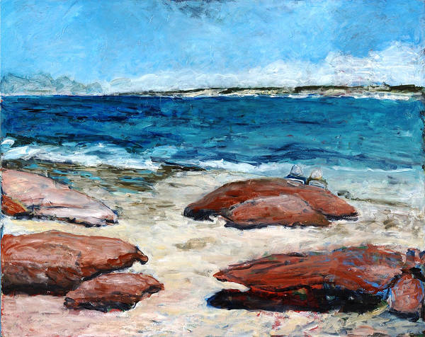 Seascape Art Print featuring the painting Kalbarri Beach by Joan De Bot