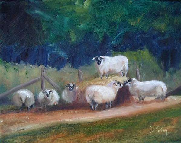 Sheep Art Print featuring the painting King Of Green Hill Farm by Donna Tuten
