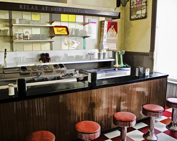 Drug Store Art Print featuring the photograph Kramers Drug Store Soda Fountain by Kevin Anderson