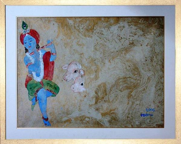 Lord Krishna Art Print featuring the painting Krishna by Rooma Mehra