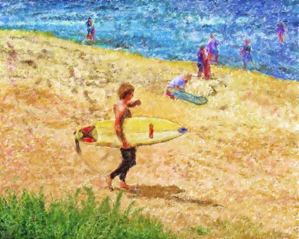 Surfers Art Print featuring the mixed media La Jolla Surfers by Marilyn Sholin