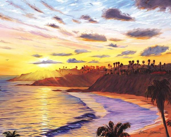 Laguna Beach Art Print featuring the painting Laguna Village Sunset by Steve Simon