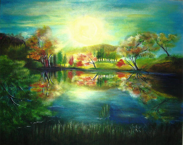 Landscape Art Print featuring the painting Lake At Dawn by Vivian Mosley